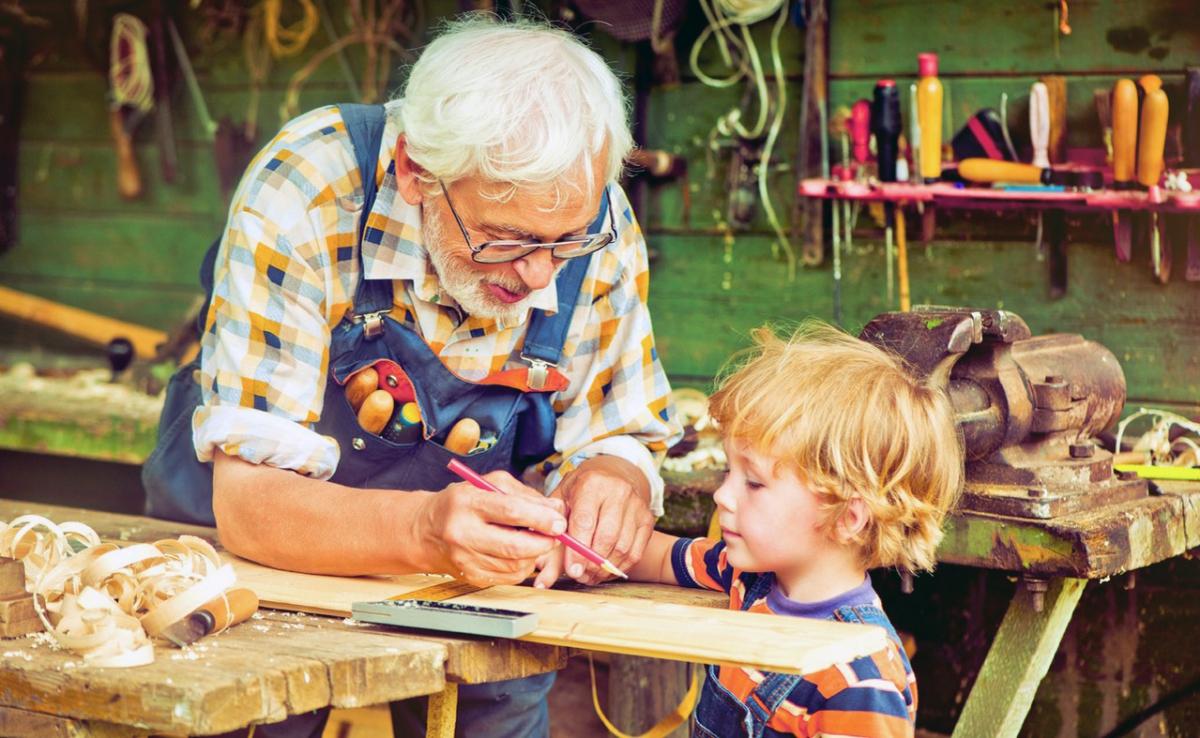 Открытка дедушка с внуком